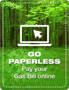 Go paperless, pay your gas bill online.